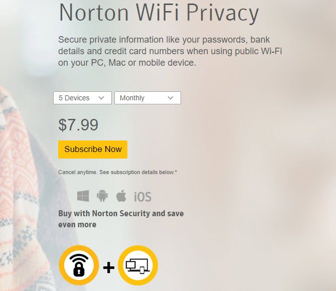 Subscribe to Norton WiFi Privacy