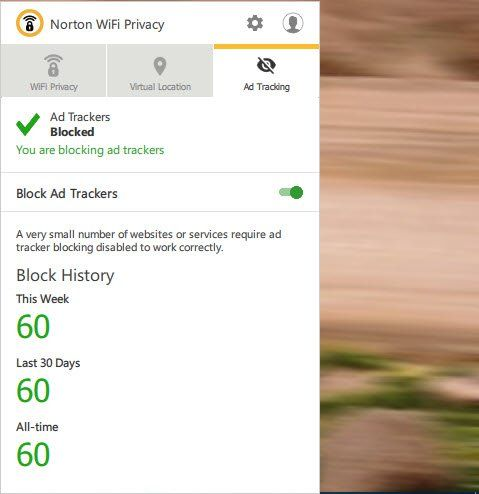 Using Norton WiFi Privacy on Desktop - ad tracker blocking