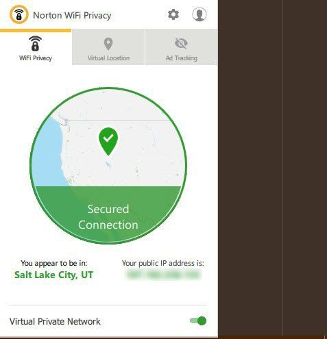 Using Norton WiFi Privacy on Desktop - secured connection