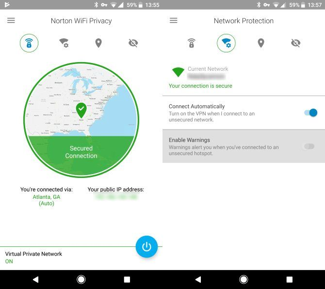 Norton WiFi Privacy on mobile - secured connection and protection