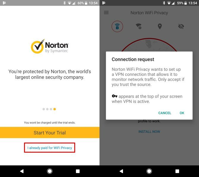Norton WiFi Privacy on mobile - setup