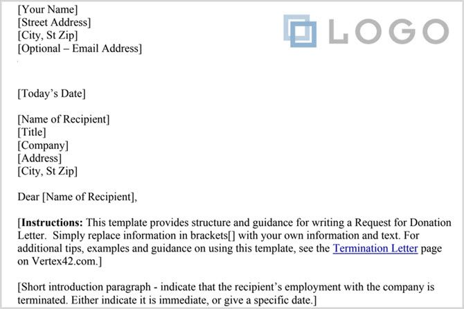 Google Docs termination letter template