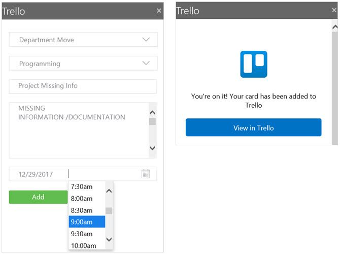 Trello Outlook Project Management Add-In