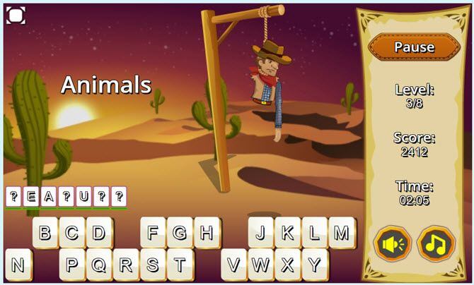 Free Online Word Games - Wild West Hangman