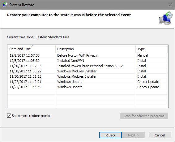 Windows System Restore Points