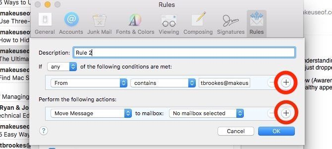 multiple conditions for apple mail rules