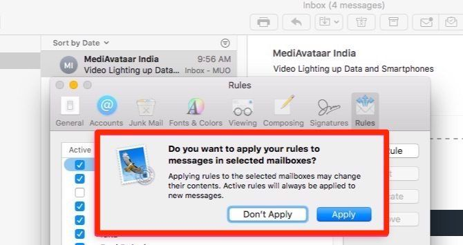 apply apple mail rules