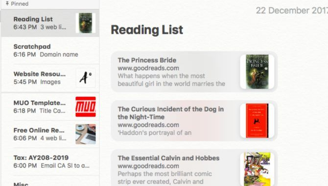 To-read list in Apple Notes
