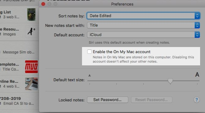 Keeping notes on your Mac with Enable the On My Mac account setting