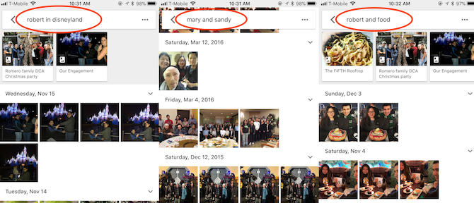 Advanced searches in Google Photos