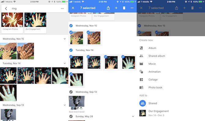 Creating a new album in Google Photos by selecting images