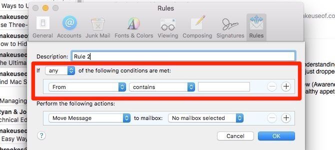 create apple mail rules