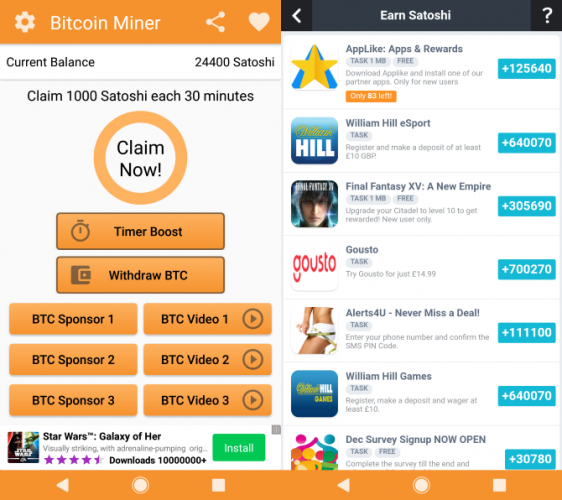 can win generate bitcoin on android