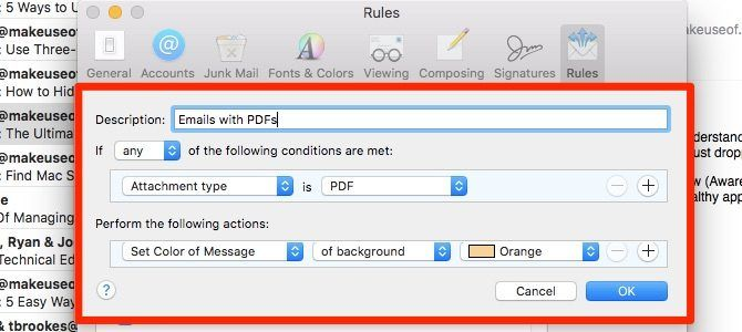 save emails with pdfs - apple mail rules