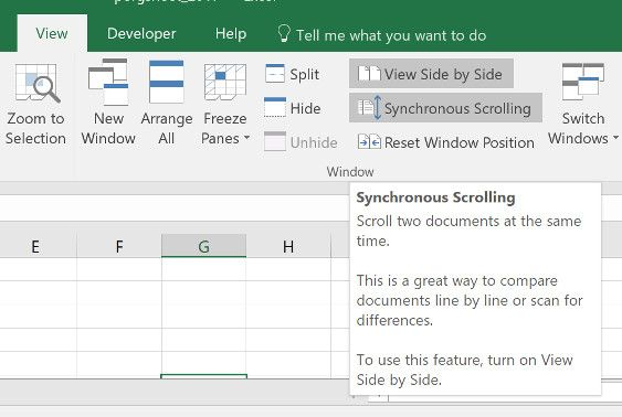 how to compare two excel sheets side by side