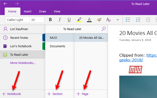 how to use onenote - notebooks, sections, pages