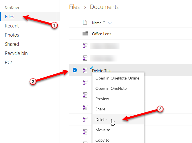 how to delete onenote notebooks from onedrive