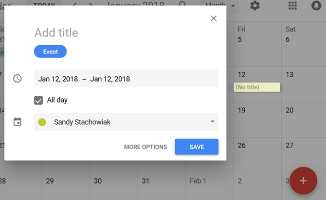 google calendar personal journal