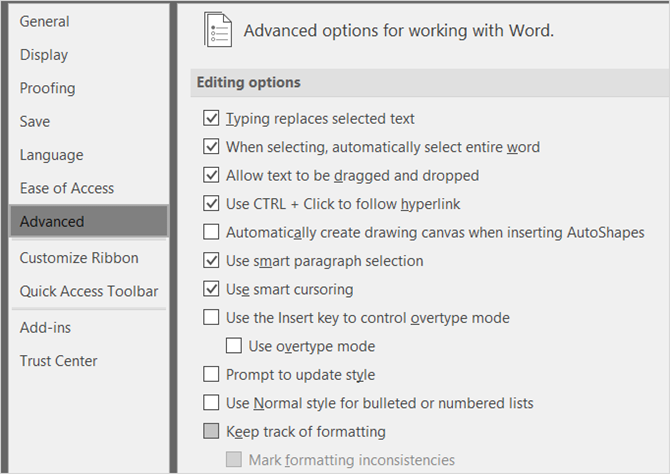 Word Advanced Options