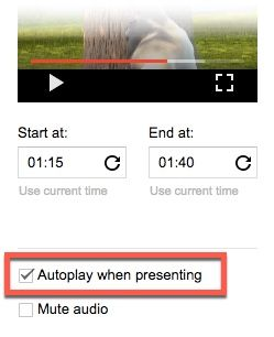 Google Slides - Autoplay Video