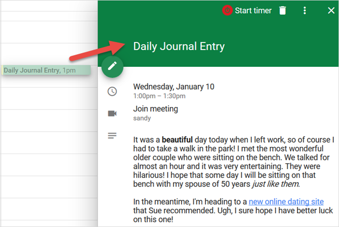 how to use google calendar as a personal journal from today