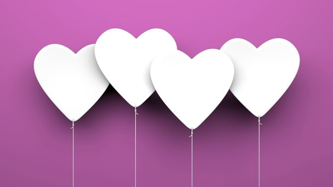 White hearts on purple background