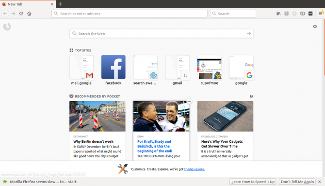 firefox quantum web browser on linux