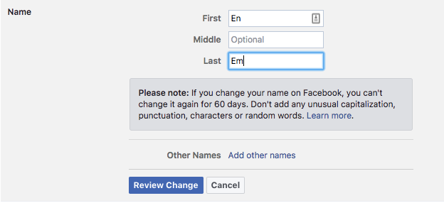 How to Change Your Facebook Name Facebook Name Change 1