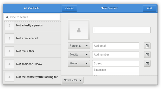 GNOME contacts app