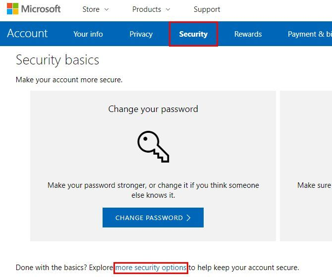 Enable Two-Factor Authentication for microsoft account