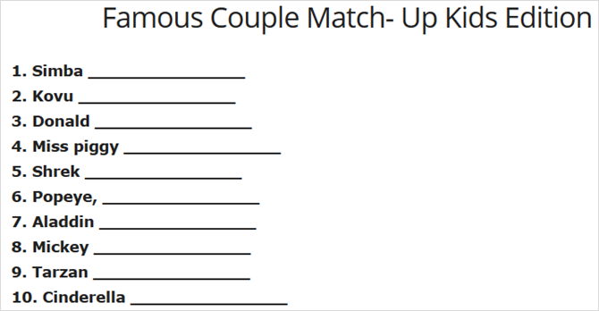Famous couple match-up, kids' edition