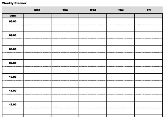 printable weekly planner with times