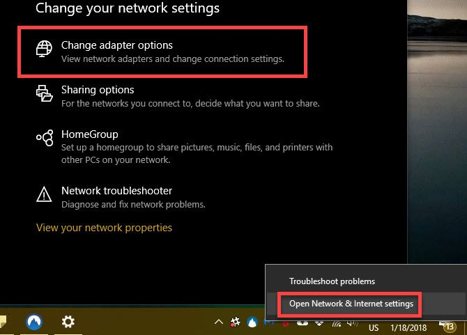 Windows 10 change network adapter options