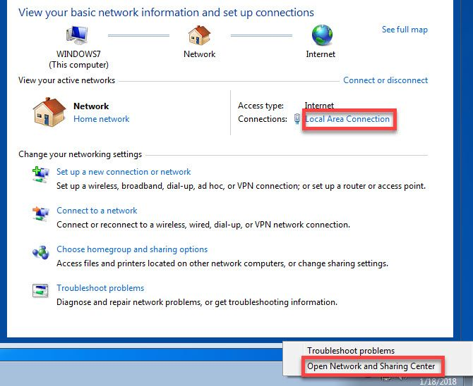 Windows 7 change network adapter options