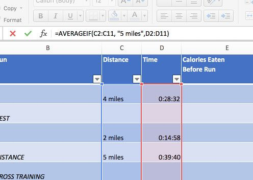 using conditional formatting in your marathon training plan
