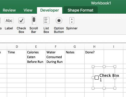adding checkboxes in your marathon training plan