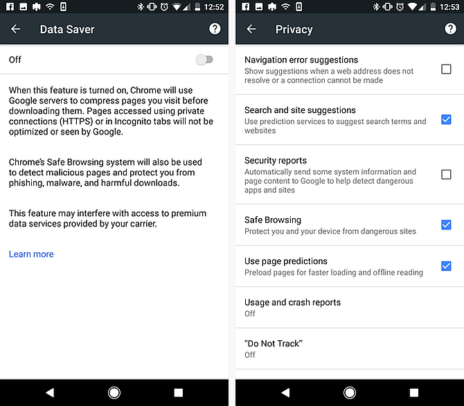 chrome on android - sharing, history, privacy
