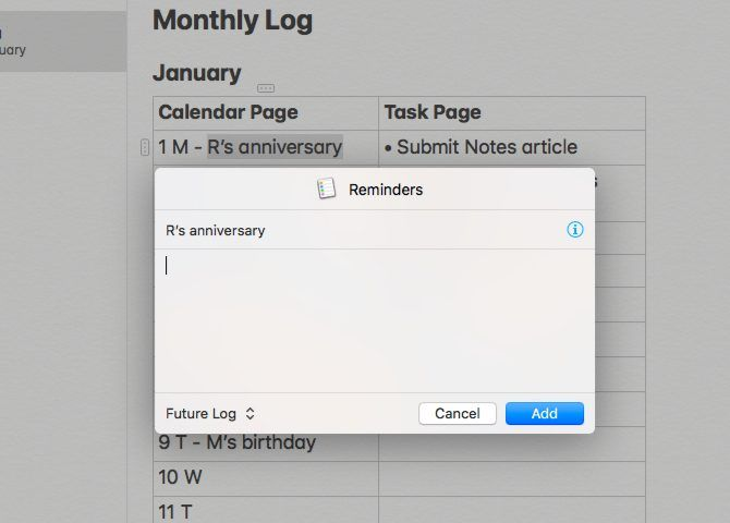 Create Notes reminders for a bullet journal on Mac