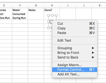checkbox format control in excel