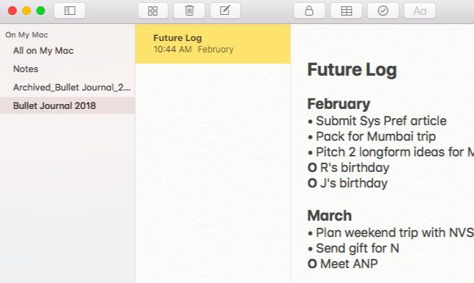 Apple Notes for a bullet journal on Mac