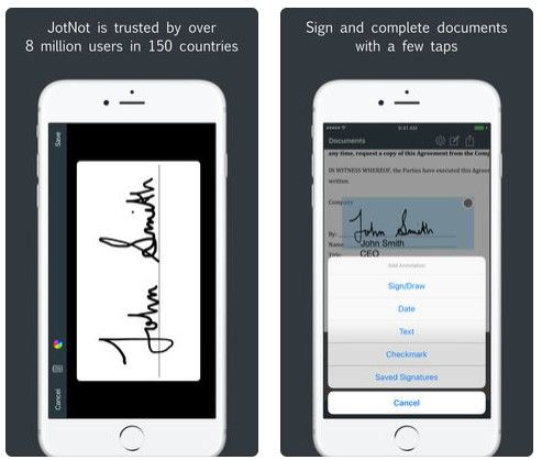sign pdf with jotnot signature
