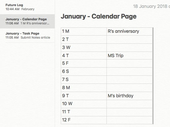 Monthly log for a bullet journal on Mac