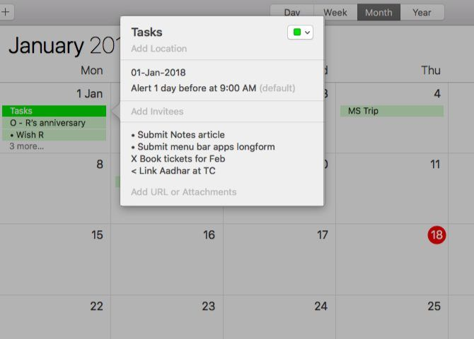 Using Calendar for a bullet journal on Mac