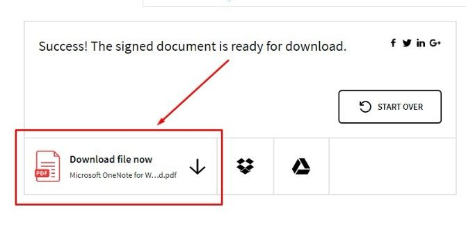 download signed file with smallpdf