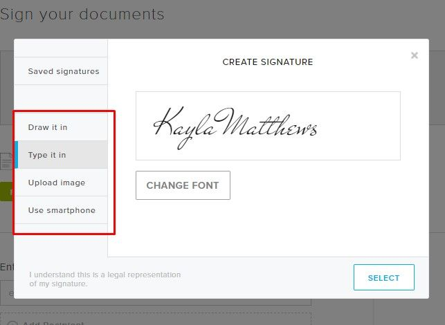 select signature in hellosign