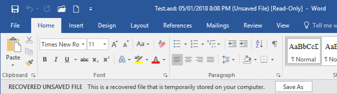 microsoft word recover unsaved document