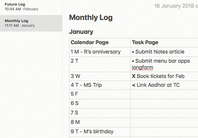 Single monthly log for a bullet journal on Mac