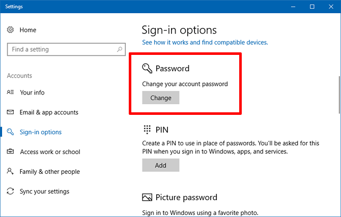 change password - windows 10 questions