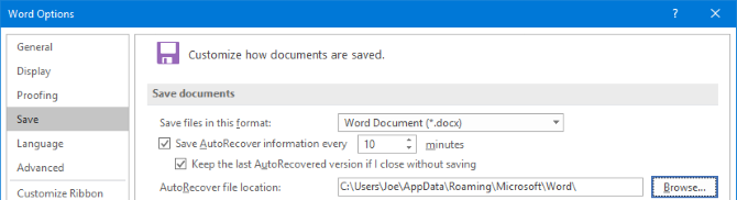 customize microsoft word 2016 autorecover