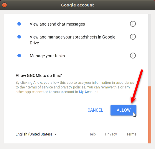 Allow Gnome to access Google Drive